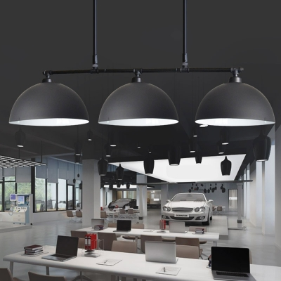 Industrial 3 Light Island Lighting with Black Dome Shade