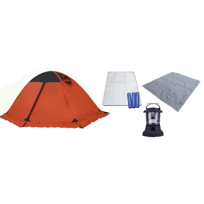 Купить со скидкой Outdoors Waterproof Hiking Camping Aluminum Rod Tent for 4-Season 2-Person, Orange including Lantern