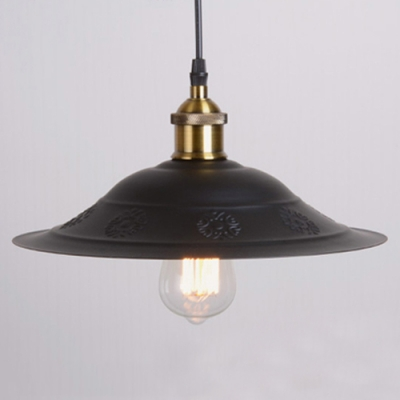 Industrial Hanging Pendant Light with Cutout Pattern Shallow Round Flared Metal Cage