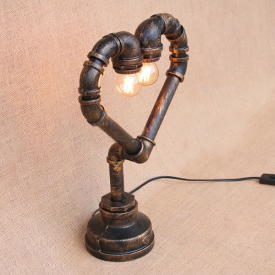 Industrial Heart-Shaped Pipe Table Lamp, 2 Lights 17'' Height