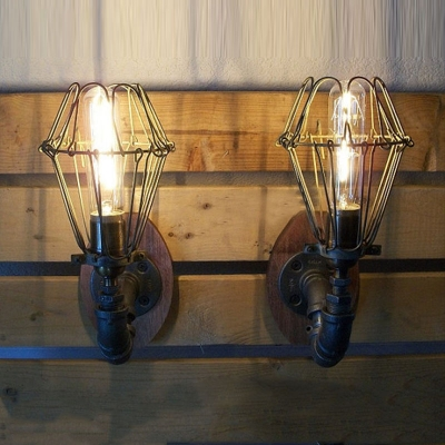 ... Industrial Loft Vintage Wall Sconce with Black Wire Cage Uplighting ... : wall sconce uplight - www.canuckmediamonitor.org