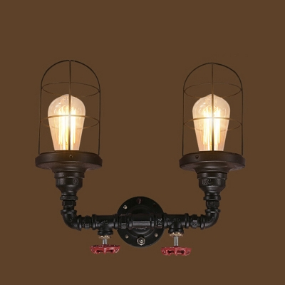 & Industrial Nautical Wire Cage Wall Sconce in Black Finish 2 Lights ...