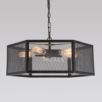 Industrial Pendant Chandelier 5 Light with Hexagon Mesh Cage in Black