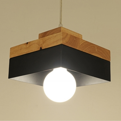 Industrial Simple Wood Pendant Light Kitchen Light Fixture In Square - Square kitchen light fixtures