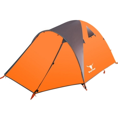 Image of 3-Person 4-Season Geodesic Tent for Winter Camping, Mountaineering and Fishing with Fiberglass Poles (Orange)