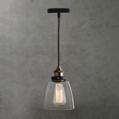 Cloche Shade 1 Light Pendant Light with Amber/Smoke/Clear Glass Shape in Vintage Style for Kitchen Warehouse