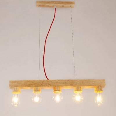 Industrial Island Light Wood 5 Light in Full Size