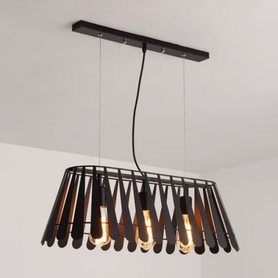 Industrial Island Lighting Nordic Style with Stripe Wire Net Metal Shade