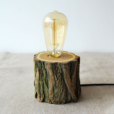 ... Industrial Tabletop Lamp With Wood Cylinder Base, Bare Bulb ...