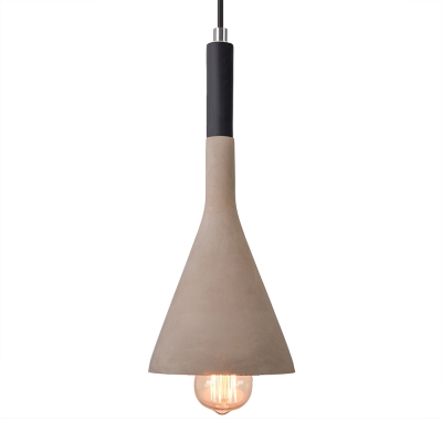 Vintage Cement Pendant Light with Conical Shade in Black/Red/Grey/White