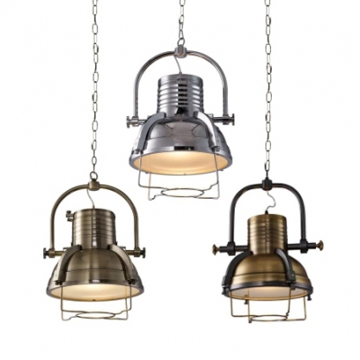 Vintage Hanging Pendant Light with Dome Shade in Antique Brass/Chrome/Bronze, Bronze;chrome;antique brass, HL448744