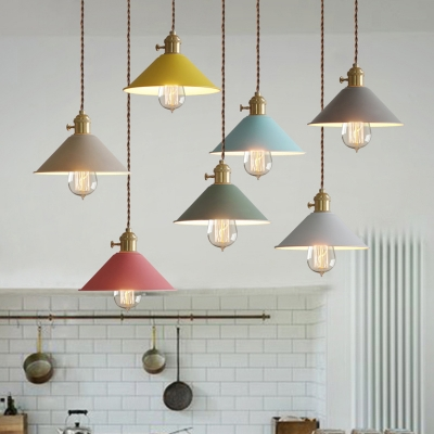 Multi Color Cone Pendant Light Macaroon Metal 1 Light