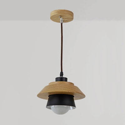 industrial simple wood pendant light indoor light fixture for study