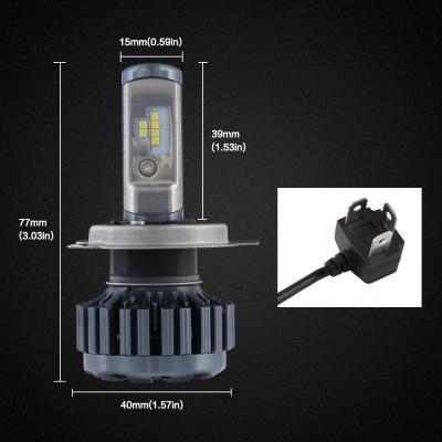 Nighteye A373 Car LED  Headlight Bulbs H4 60W 8000LM 6000K CSP LED, Pack of 2