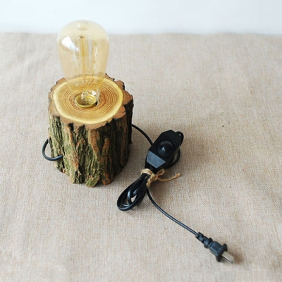 Industrial tabletop Lamp with Wood Cylinder Base, Bare Bulb
