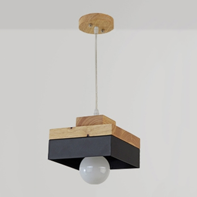 Industrial Simple Wood Pendant Light Kitchen Light Fixture In Square - Wooden kitchen light fixtures