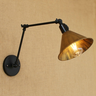 Industrial Swing Arm Wall Sconce with Conical Shade, Heritage Brass