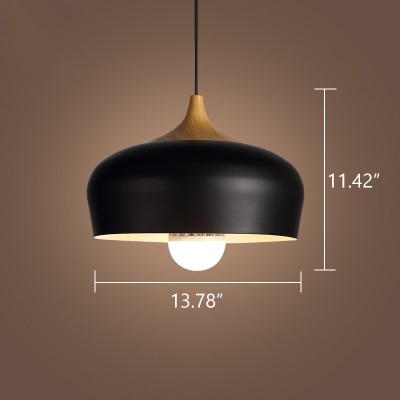 Industrial Pendant Light with Dome Shade in Black Finished with Wood