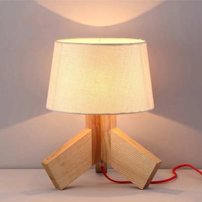 Industrial Tripod Table Lamp Wooden in White Drum Shape