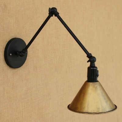 industrial swing arm wall sconce with conical shade heritage brass