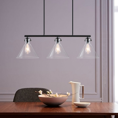 3 Light Large Island Pendant Light in Clear Glass Industrial Cone Chandelier in Black for Pool Table Bar Counter