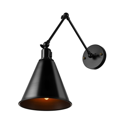 Industrial Swing Arm Wall Sconce 7 Quot Conical Shade Black