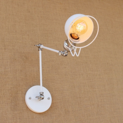 Vintage Swing Arm Wall Sconce with Bowl Shade in White HL448724 фото