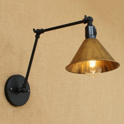 Industrial Swing Arm Wall Sconce With Conical Shade, Heritage Brass ...