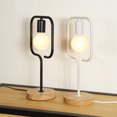 ... Industrial Table Lamp Wrought Iron Square Shape With Wooden Base ...