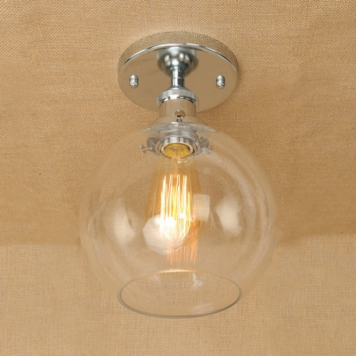 Industrial flush mount ceiling light with 8 inch wide globe clear industrial flush mount ceiling light with 8 inch wide globe clear glass shade in rust aloadofball Gallery
