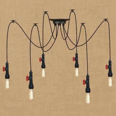 Industrial Multi Light Pendant Light 6 Light E27 LED with Creative Adjustable Design Pipe Fixture