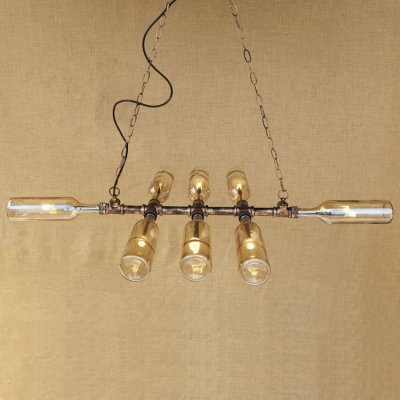 Industrial Multi Light Pendant Light with Wine Bottle Glass Lampshade LOFT Pipe in Retro Style, Blue/Amber/Smoke
