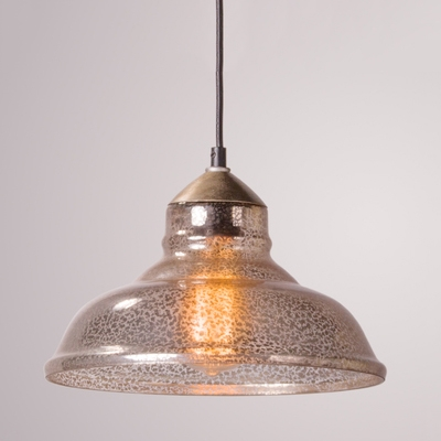 Industrial Vintage Single Pendant Light 11 Inch Wide with Mercury Glass Shade