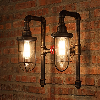Industrial Wall Sconce Nautical Style With Bronze Metal