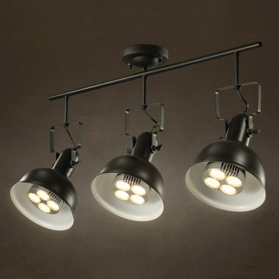Industrial 3 Light Semi Flushmount Ceiling Light with Bowl Shade