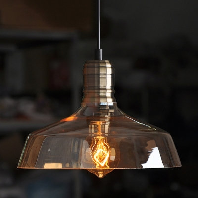 industrial vintage hanging pendant light barn style with amber glass