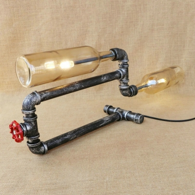 Industrial Vintage Table Lamp LOFT Pipe Fixture with Retro Colorful Glass Shade