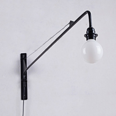 Industrial Wall Sconce E27 Lighting 24 Inch Length Fixture Arm in Open Bulb Style