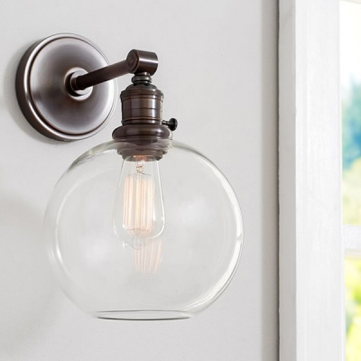Industrial Wall Sconce Modern Style With Orb Clear Glass Shade In Black
