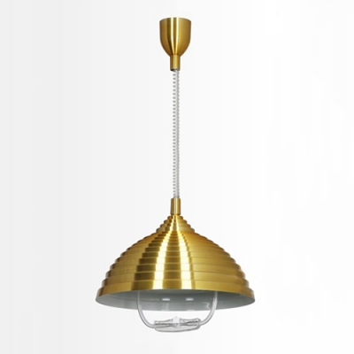 Industrial Adjustable Pendant Light with Ribbed Dome Shade in Gold/ Rose Red