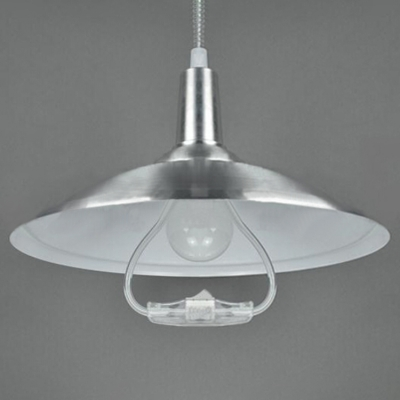 Industrial Hanging Lamp Extendable with Silver Cone Shade