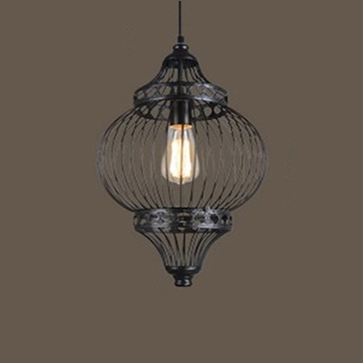 Industrial Single Pendant Light 13 Inch Wide with Metal Cage Frame
