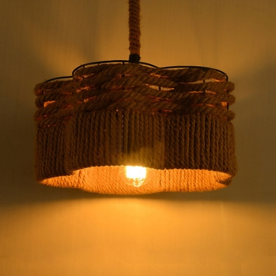 Industrial Single Pendant Light Vintage with Cylinder Rope Shade for Bar and Diner