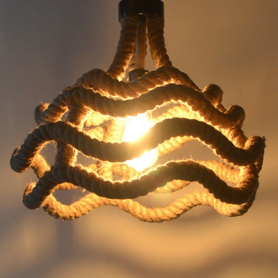 industrial single pendant light with wave frame in french country