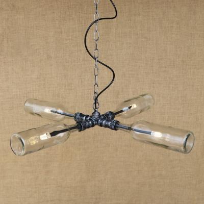 Industrial Style Multi Light LED Pendant Light Bar Creative Glass Wine Bottle