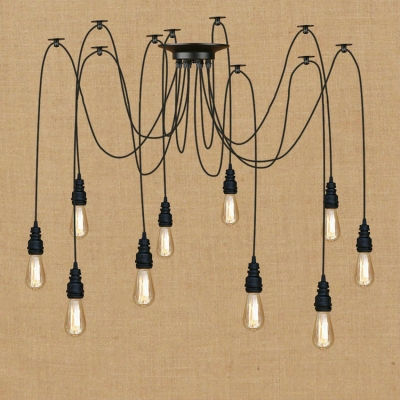 industrial lighting bare bulb light fixtures. Industrial Vintage Multi Light Pendant With Black Fixture Pipe Style Adjustable In Bare Bulb Lighting Fixtures D