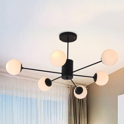 Industrial Chandelier 6 Light Modern Style with Globe White Glass Shade in Black