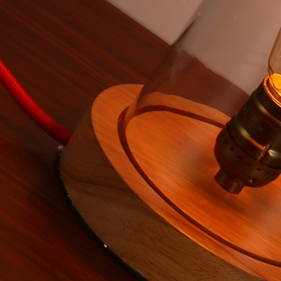 Industrial Desk Lamp with 7.2''W Wooden Base