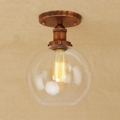 Polished Chromerust Globe Flush Mount Light In Clear Glass For