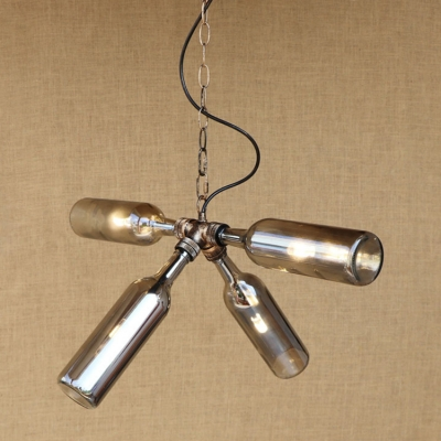 Industrial Retro Multi Light Pendant Light G4 Bulb Style with Blue/Amber/ Smoke Glass Bottle Lampshade